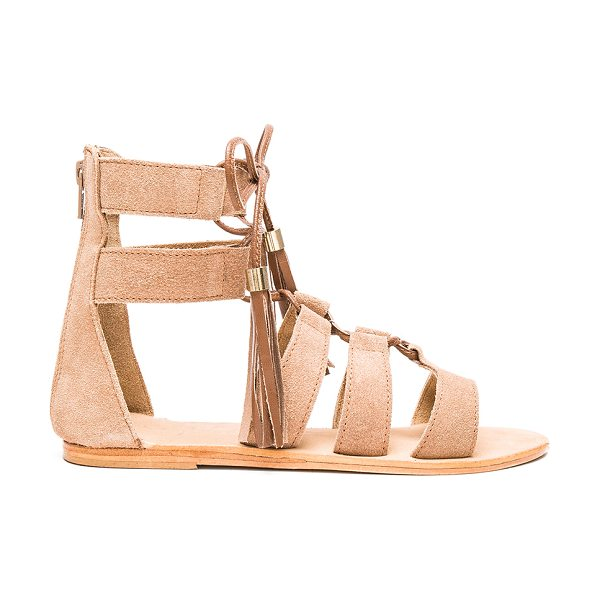 Urge Penny sandals in tan - Suede upper with leather sole. Lace-up front with fringe...