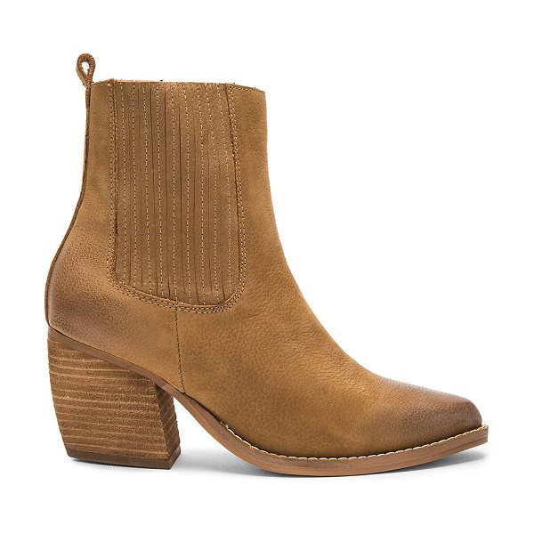 Urge Toronto Booties in tan - Leather upper with man made sole. Elasticized pull on...