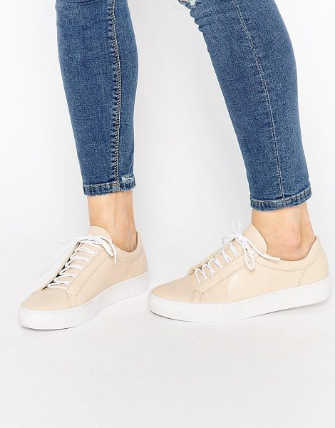 Vagabond Zoe Leather Nude Lace Up Sneakers in beige - Sneakers by Vagabond, Leather upper, Lace-up fastening,...