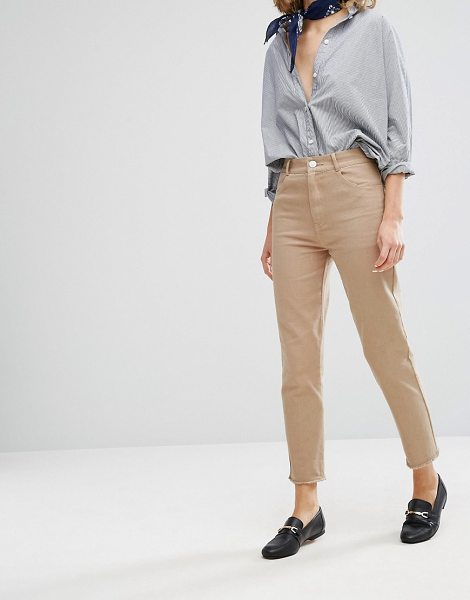"Vale High Rise Fray Hem Cropped Jean in tan - """"Jeans by Valery, Non-stretch denim, High-rise waist,..."