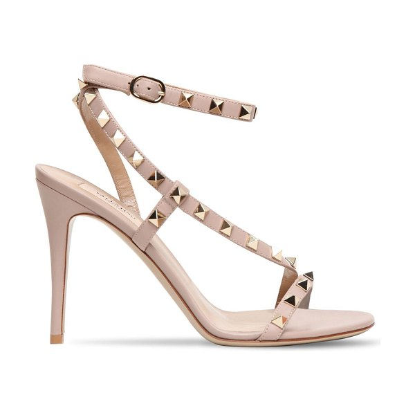 Valentino 100mm rockstud leather sandals in poudre