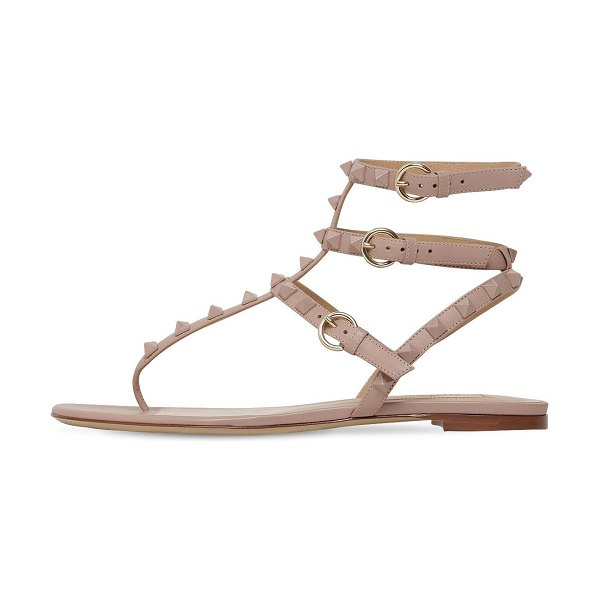 Valentino 10mm rockstud leather sandals in nude