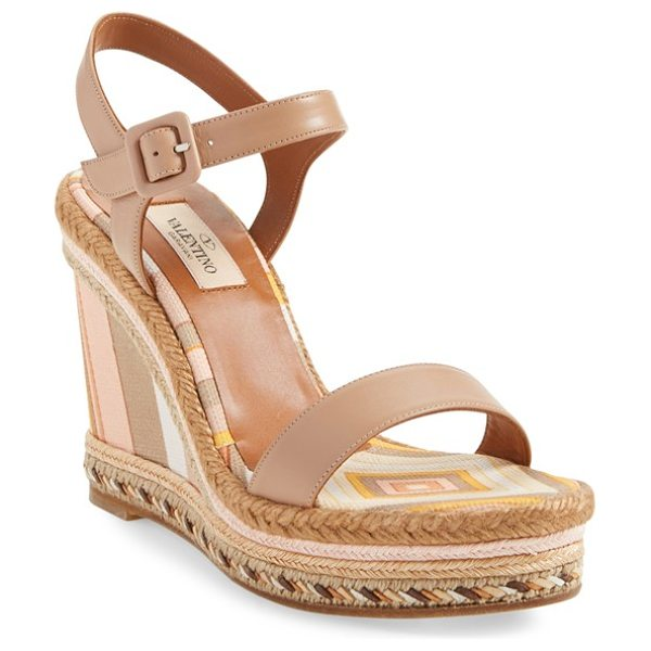 Valentino 1975 ankle strap wedge in beige leather - The wedge goes retro-chic with fresh stripes in...