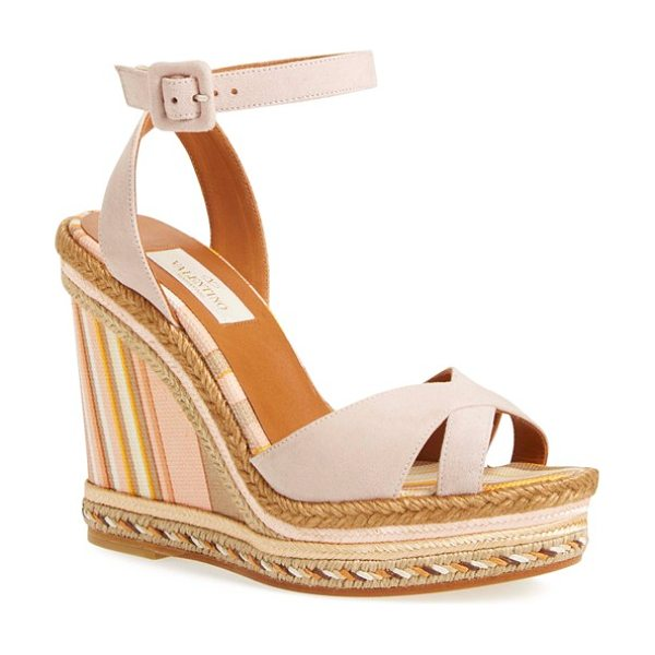 Valentino 1975 ankle strap wedge in water rose leather - The wedge goes graphic and bold with stripes set off by...