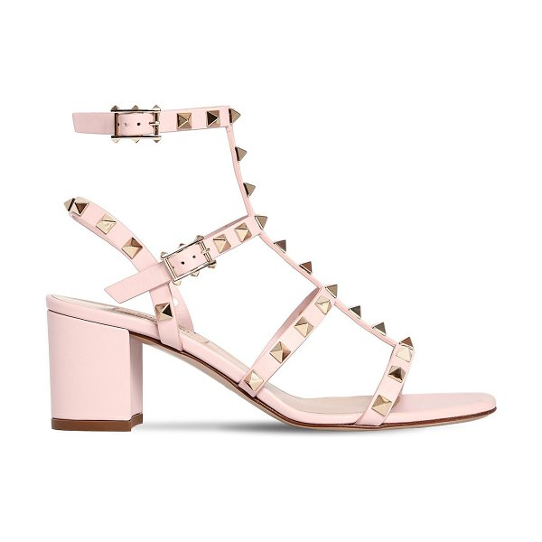 Valentino 60mm rockstud leather sandals in rose - 60mm Leather covered heel. Adjustable buckle closures....