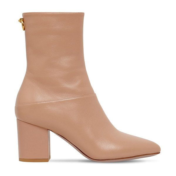 Valentino 70mm ringstud leather ankle boots in nude