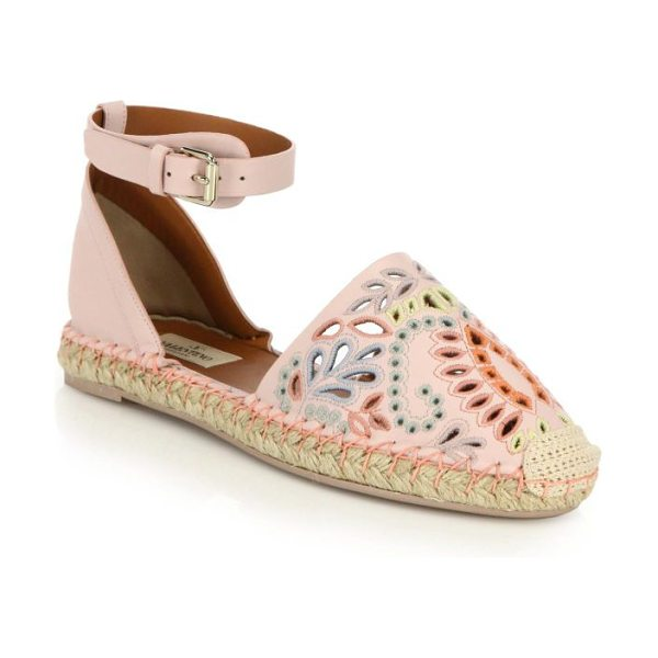 VALENTINO A jour embroidered cutout suede espadrille sandals - Bohemian-chic espadrille sandals beautifully detailed...