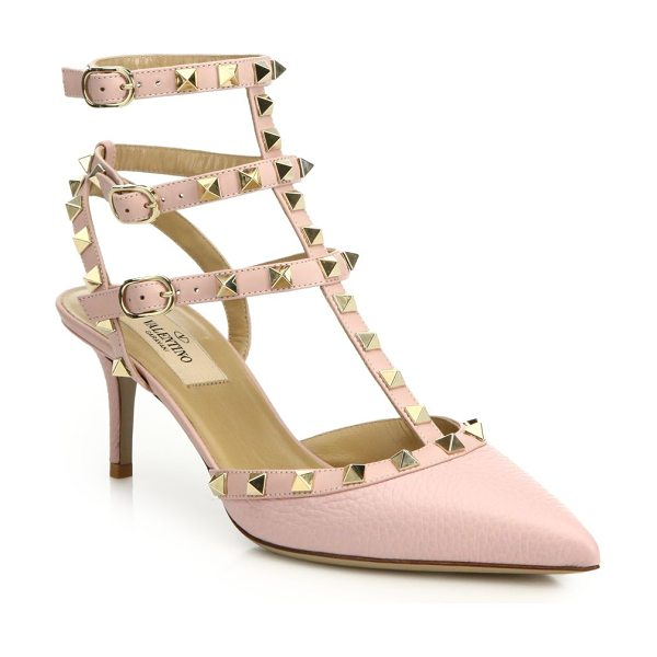 Valentino alce rockstud leather slingbacks in rose - Signature rockstuds decorate slingback pumps....
