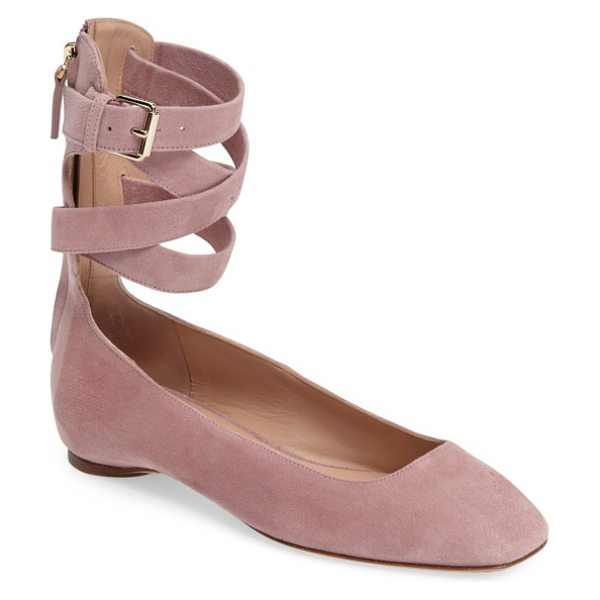 VALENTINO ankle wrap ballet flat - A squared-off toe and buckled ankle wrap add a bit of...
