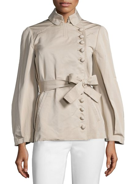 Valentino Asymmetric Button-Front Belted Jacket in beige - Valentino woven jacket. Folded collar; asymmetric button...