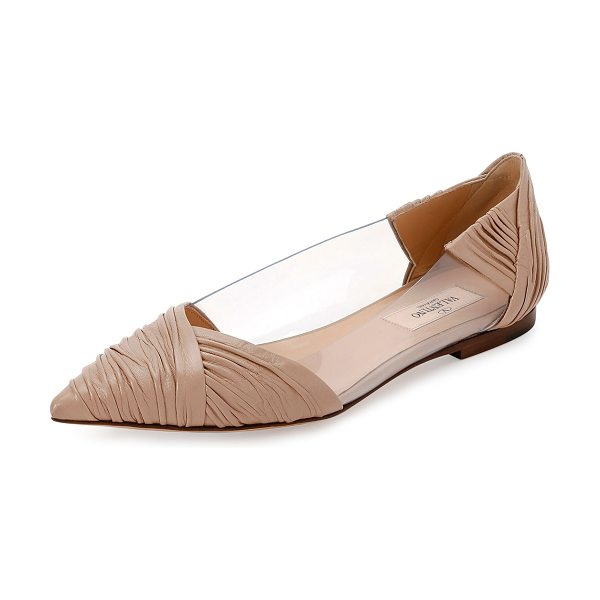 VALENTINO B-Drape Leather Ballerina Flat - Valentino Garavani ruched calf leather ballerina flat...