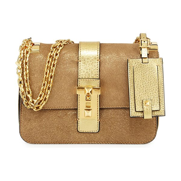 Valentino B-Rockstud Metallic Shoulder Bag in gold - Valentino metallic dyed calf hair (France) and pebbled...