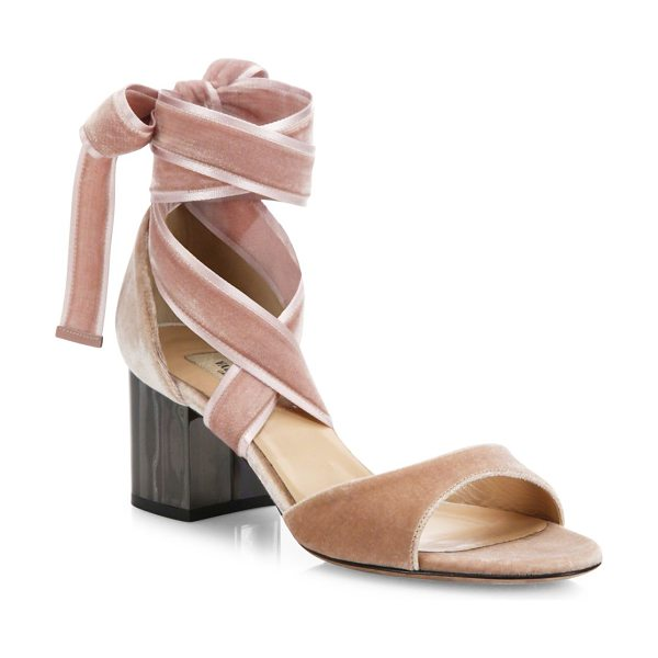 VALENTINO ballet fever velvet ankle-wrap block-heel sandals - Velvet ankle-wrap sandal set on ruthenium block heel....