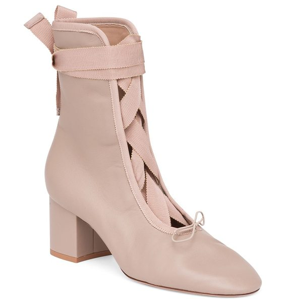 VALENTINO ballet leather block-heel booties - Ballet-inspired block-heel bootie with grosgrain ribbon....