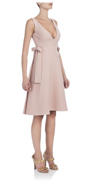 Valentino Bow-trim dress in rose - Flared dress with bow accents. Deep V-neck. Sleeveless....