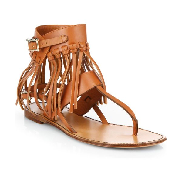 Valentino C-rockee leather fringe thong sandals in cognac