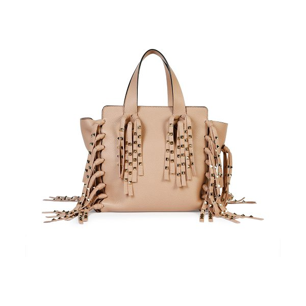 "VALENTINO C-rockee studded fringe micro shopper tote bag - Valentino ""C-Rockee"" pebbled calf leather micro shopping..."