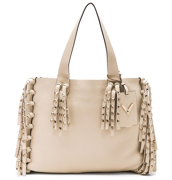 Valentino C rockee tote in neutrals - Grained leather with pale gold-tone hardware and no...