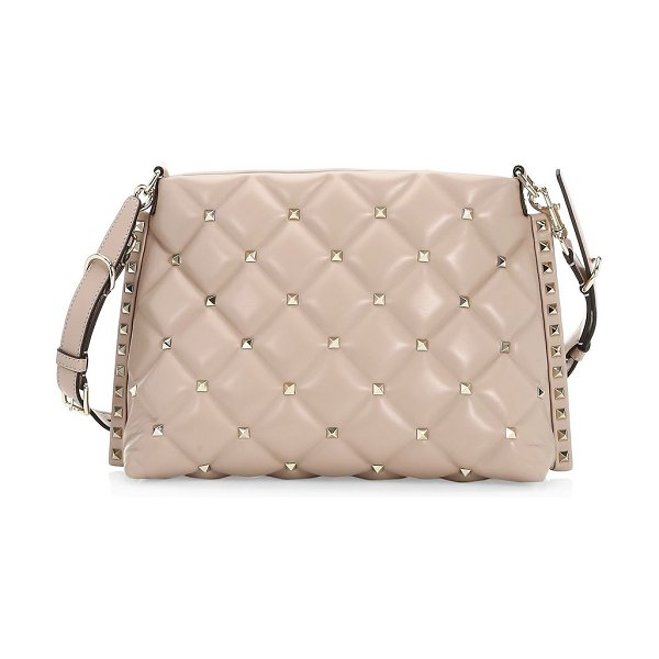 Valentino candystud shoulder bag in poudre - Chic quilted shoulder bag with signature studded...