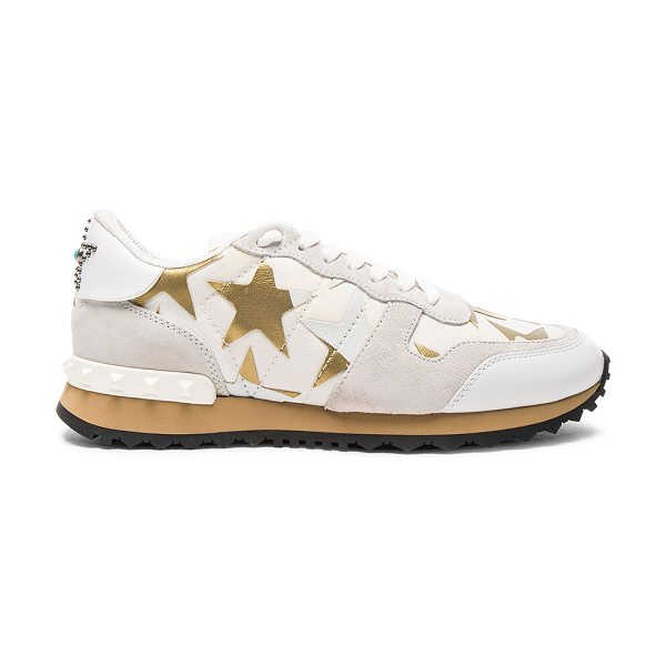 Valentino Canvas & Suede Sneakers in white,metallics,geometric print,abstract - Canvas and suede upper with rubber sole.  Made in Italy....