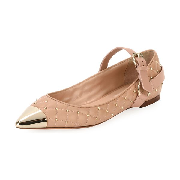 Valentino Cap-Toe Studded Ballet Flat in poudre - Valentino Garavani quilted napa leather ballerina flat...