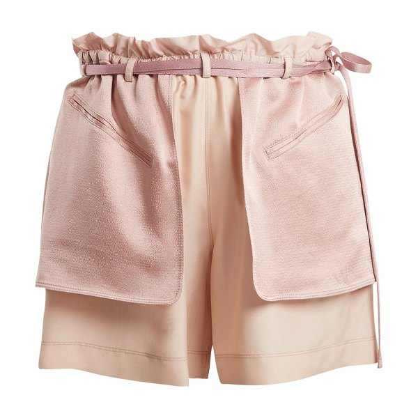 Valentino Contrast Pocket Elasticated Waist Shorts in pink multi - Valentino - A light-pink version of a pair from...