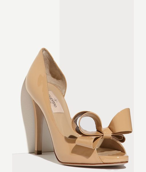 Valentino couture bow dorsay pump in beige - A bold oversized bow tops the peep toe of a glossy...