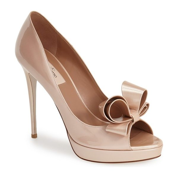 Valentino couture bow platform pump in blush - A signature bow adds dimension and charm to a glossy...