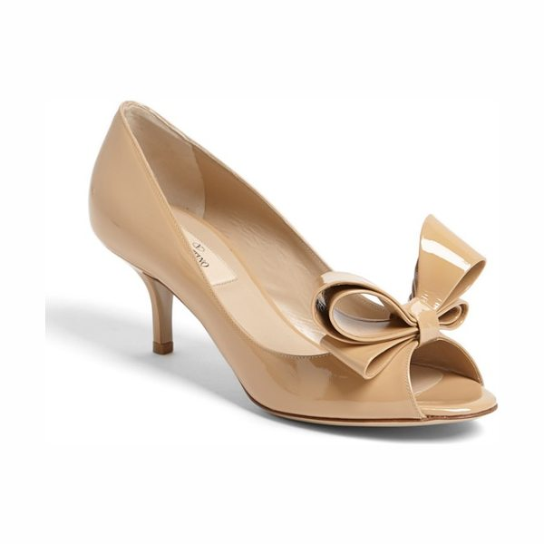 VALENTINO couture bow pump - A flamboyant signature bow tops the peep toe of a shiny...