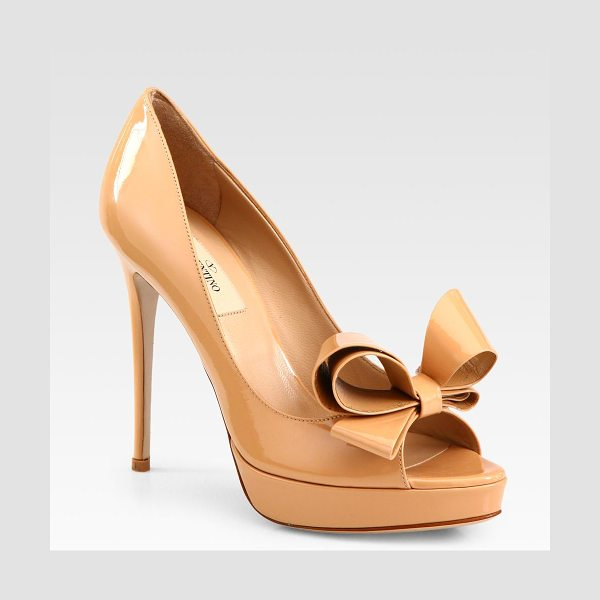 Valentino Couture patent leather bow platform pumps in tan - A heightened bow tops this peep toe silhouette in glossy...