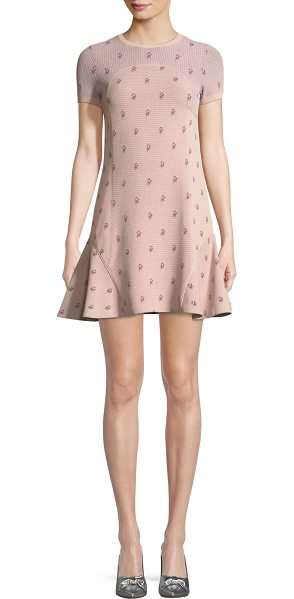 Valentino Crewneck Short-Sleeve Rose-Jacquard Fitted Dress in pink - Valentino rose-jacquard dress. Crew neckline. Short...