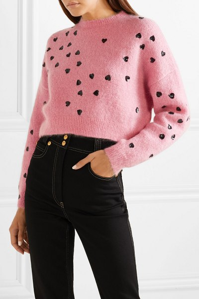 Valentino cropped sequin-embellished mohair-blend sweater in baby pink - Pierpaolo Piccioli worked hearts into a number of pieces...