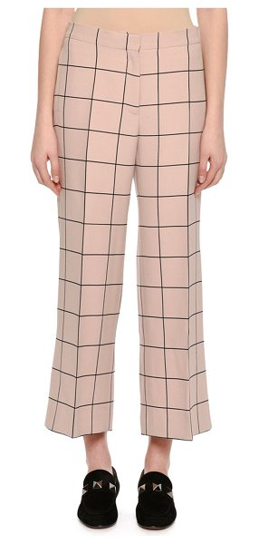 VALENTINO Cropped Wide-Leg Windowpane Trousers in blush - Valentino trousers in clean, modern windowpane check....