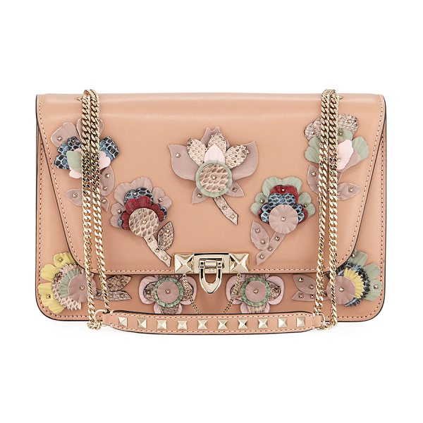 Valentino Demilune Flowers Vitello Shoulder Bag in flesh