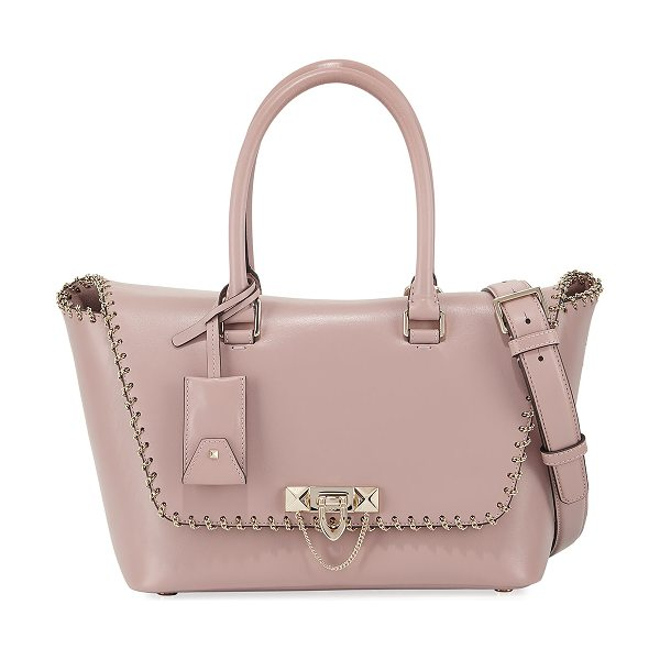 "Valentino Demilune Small Vitello Lux Leather Double-Handle Satchel Bag in pink - Valentino Garavani ""Demilune"" vitello leather satchel..."