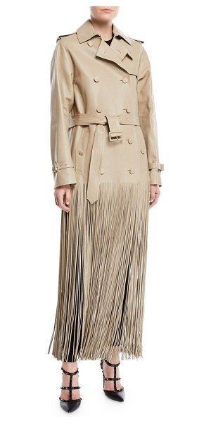 Valentino Double-Breasted Belted Fringe Hem Leather Trench Coat in nude
