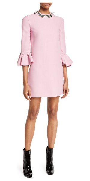 Valentino Elbow-Sleeve A-Line Crepe Couture Mini Cocktail Dress w/ Butterfly Jewels in pink - Valentino cocktail dress in crepe couture. Jewel...