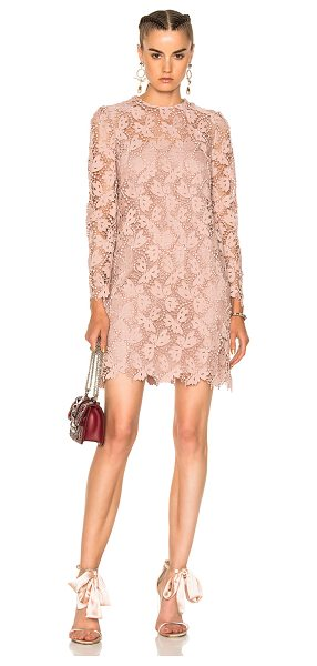 Valentino Embellished Lace Long Sleeve Dress in pink,neutrals - Self: 70% cotton 30% poly - Contrast Fabric: 100%...