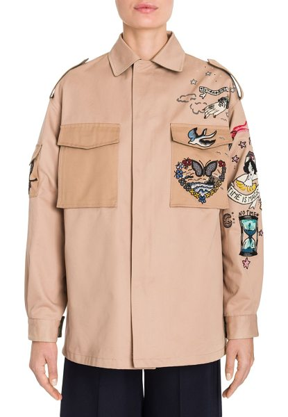 Valentino embroidered gabardine chino jacket in nude - Oversize chino jacket with whimsical beaded embroidery....