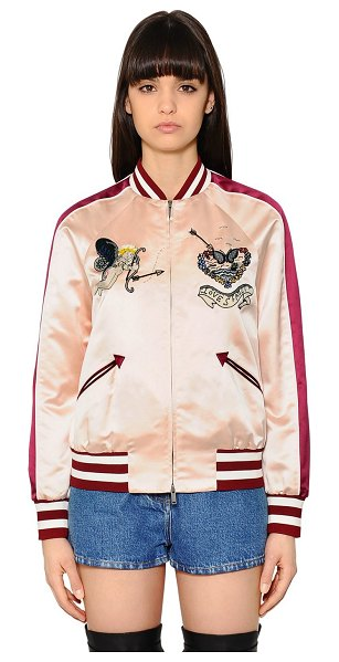 Valentino Embroidered silk satin bomber jacket in pink - Striped rib knit collar, cuffs and hem . Raglan sleeves....