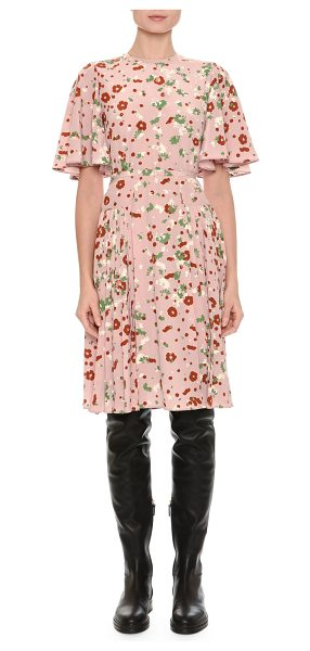 VALENTINO Floral-Print Flutter-Sleeve Dress - Valentino crêpe de chine dress in floral print featured...