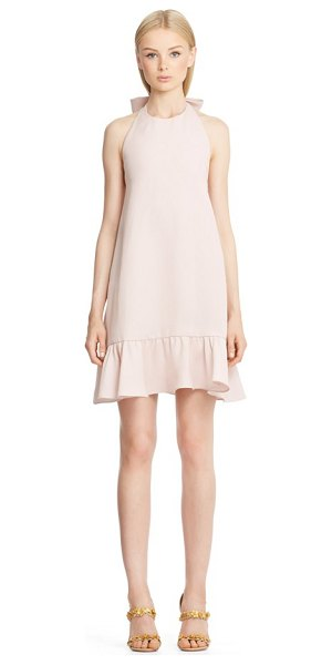 VALENTINO flutter hem silk halter dress - An oversized bow lends girlish charm to the halter...