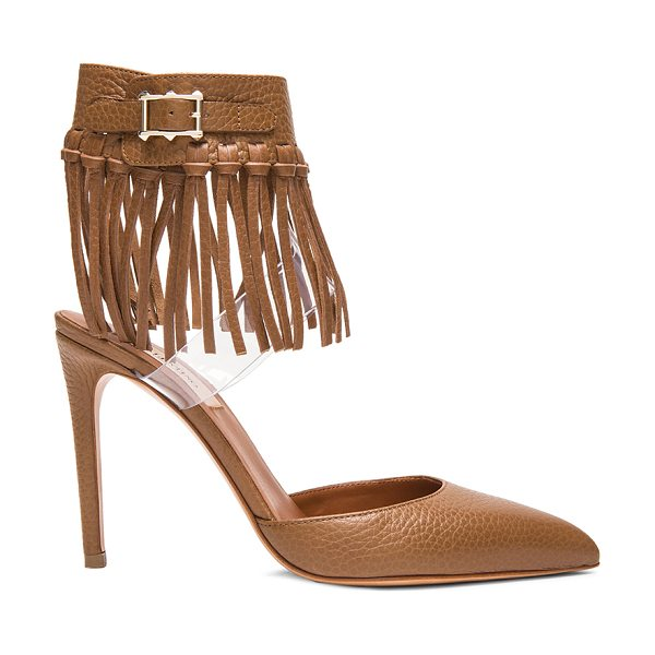 Valentino Fringe 100mm leather pumps in brown - Grained leather upper with leather sole.  Made in Italy....