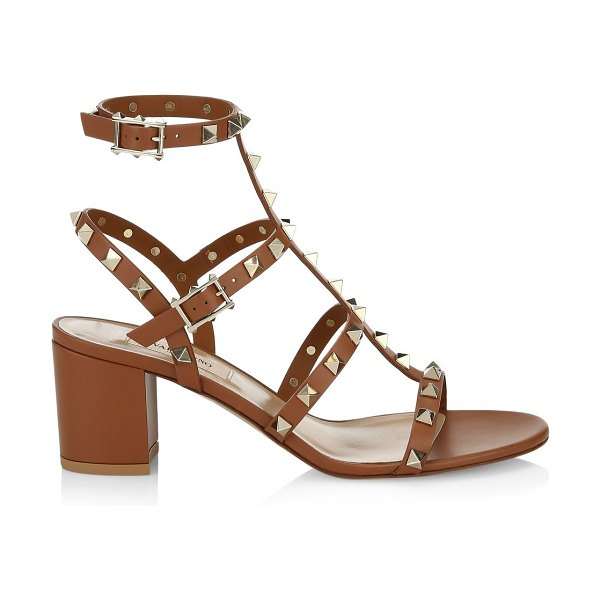 Valentino garavani rockstud leather cage sandals in cognac