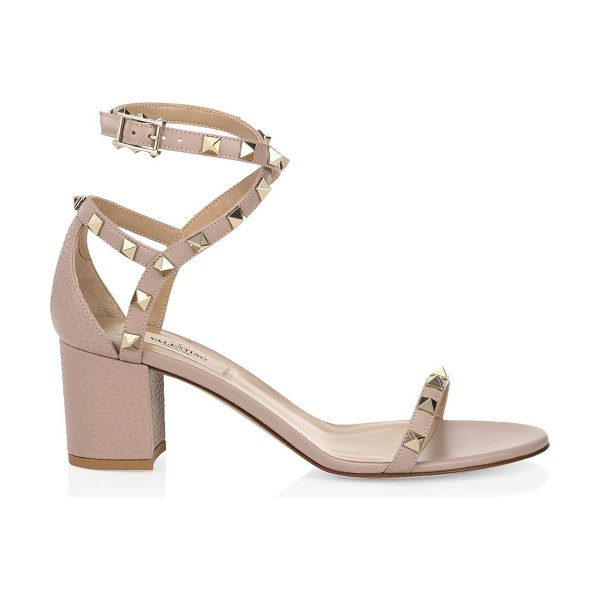 Valentino garavani rockstud leather sandals in poudre