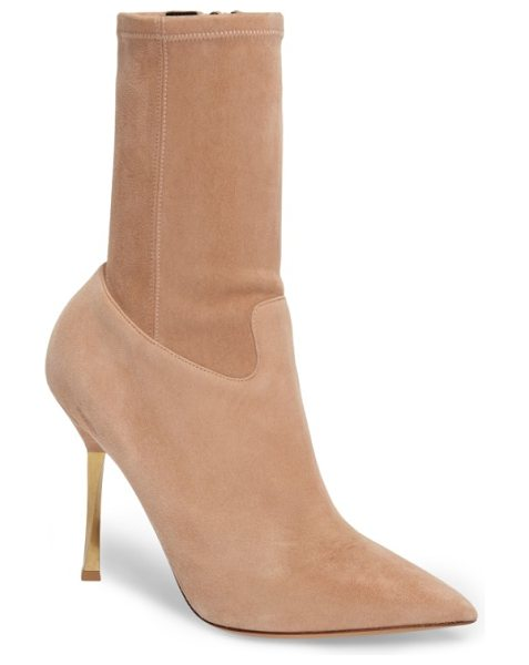 Valentino twisteel stiletto bootie in light brown suede - A twisted-metal spike heel and a crisply pointed toe...