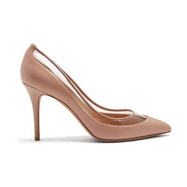 Valentino Glassglow Detachable Bow Leather Pumps in nude