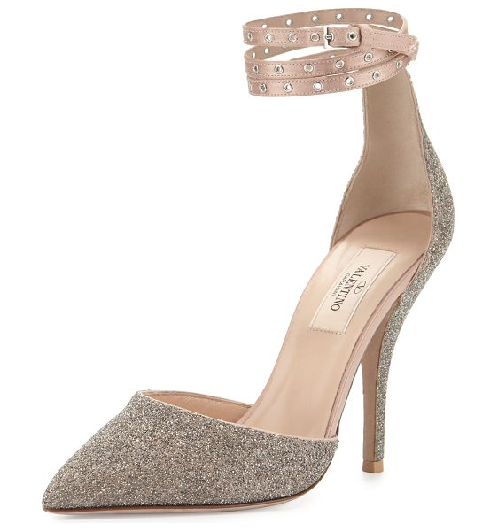 "VALENTINO Glitter Pointed-Toe Ankle-Wrap Pump - Valentino Garavani glitter-covered leather pump. 4.1""..."