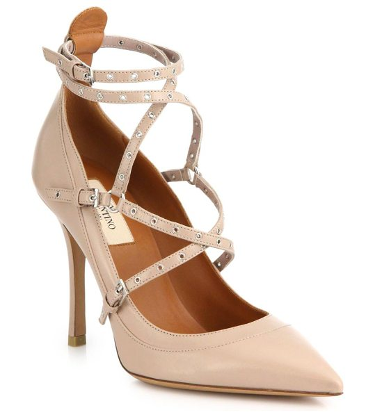 Valentino Grommet-studded leather pumps in blush - Delicate grommets lend just a touch of elevated edge to...