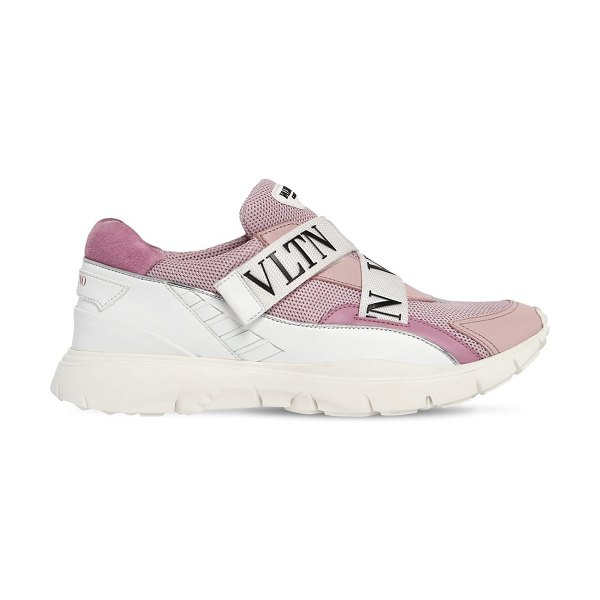 Valentino Heroes her vltn mesh & leather sneakers in pink/grey - Slip-on. Crisscrossing adjustable logo straps. Mesh...